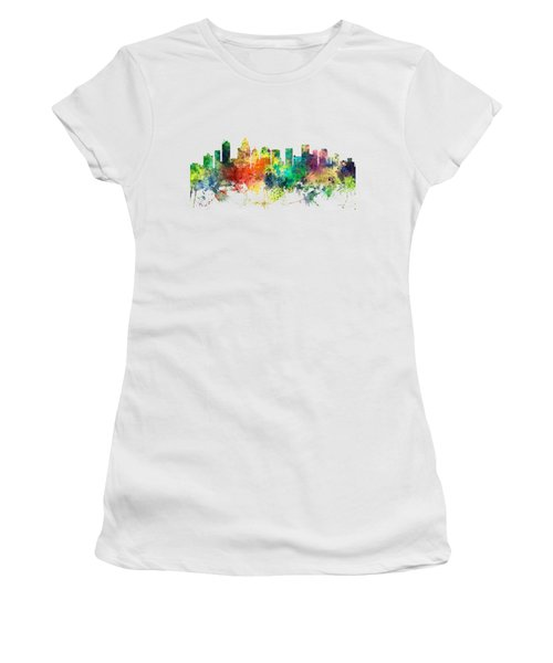 Charlotte Nc Skyline Women's T-Shirt (Junior Cut) by Marlene Watson