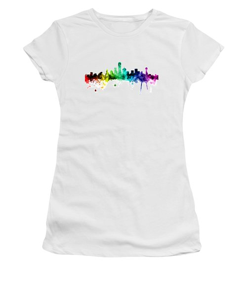 Dallas Texas Skyline Women's T-Shirt (Junior Cut) by Michael Tompsett