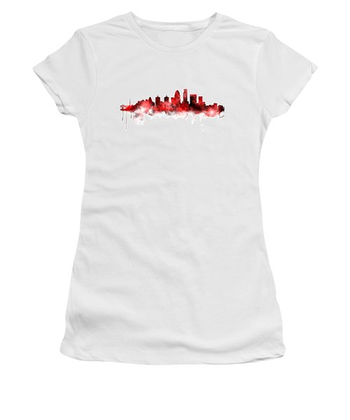 Louisville Kentucky City Skyline Women's T-Shirt (Junior Cut) by Michael Tompsett