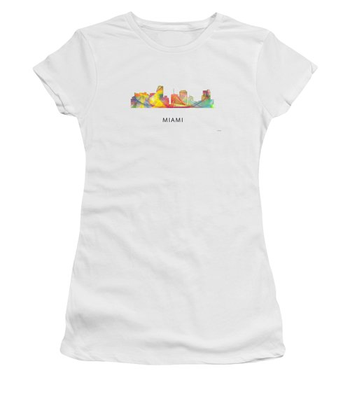 Miami Florida Skyline Women's T-Shirt (Junior Cut) by Marlene Watson
