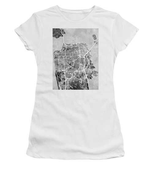 San Francisco City Street Map Women's T-Shirt (Junior Cut) by Michael Tompsett