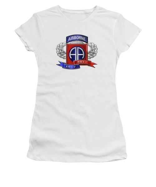 82nd Airborne Division 100th Anniversary Insignia Over White Leather Women's T-Shirt (Athletic Fit)