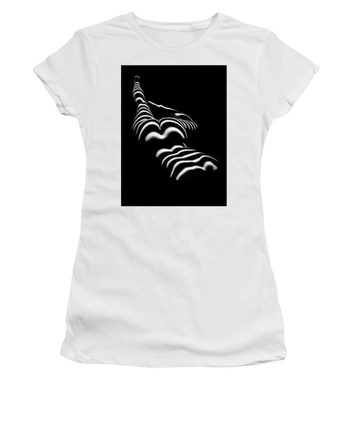 8897-slg Zebra Woman Legs Up Black And White Photograph By Chris Maher Women's T-Shirt