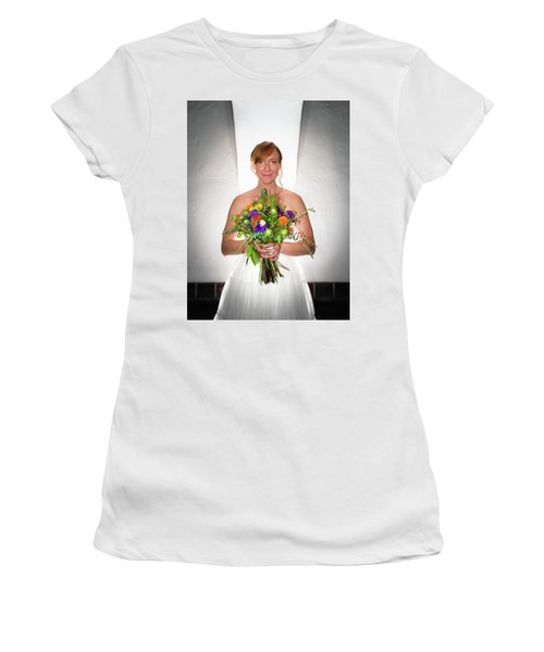 A Beautiful Backlit Bride And Her Bouquet Women's T-Shirt