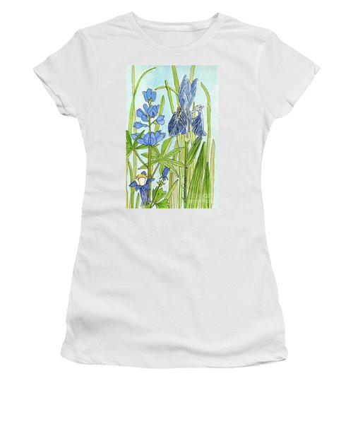 Women's T-Shirt (Junior Cut) featuring the painting A Blue Garden by Laurie Rohner