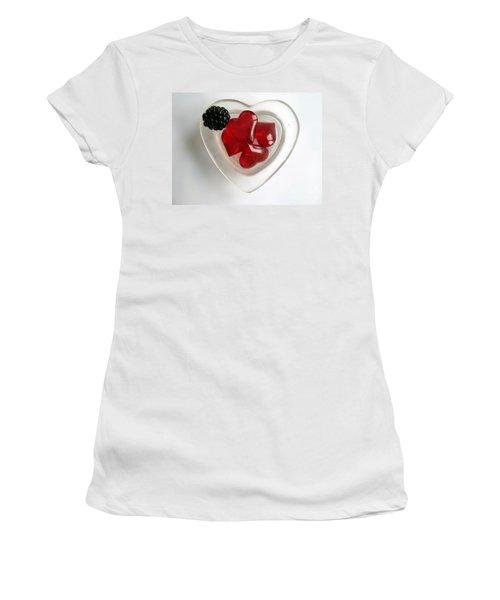 Women's T-Shirt (Junior Cut) featuring the photograph A Bowl Of Hearts And A Blackberry by Ausra Huntington nee Paulauskaite