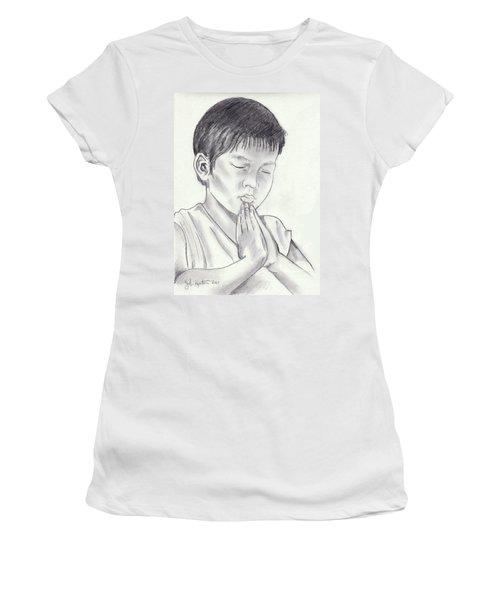 A Child's Prayer Women's T-Shirt (Junior Cut) by John Keaton