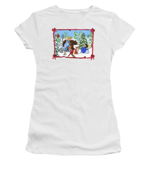 A Christmas Scene 2 Women's T-Shirt (Junior Cut) by Sarah Batalka