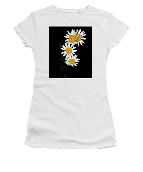 Women's T-Shirt (Junior Cut) featuring the digital art A Group Of Wild Daisies by Chris Flees