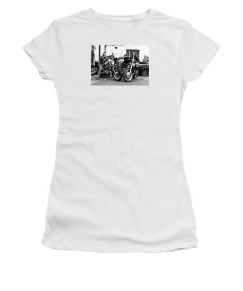 Women's T-Shirt (Junior Cut) featuring the photograph A Group Of Women Associated With The Hells Angels, 1973. by Lawrence Christopher