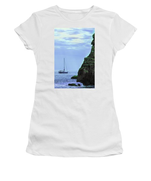 A Lone Sailboat Floats On A Calm Sea Women's T-Shirt (Athletic Fit)