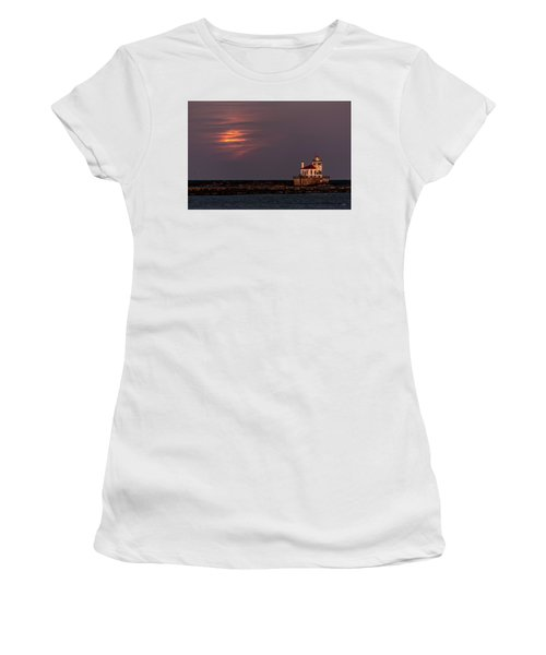 Women's T-Shirt (Junior Cut) featuring the photograph A Moonsetting Sunrise by Everet Regal