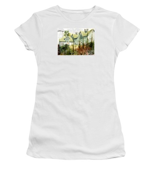 An Old Wooden Barn Painted Green With Silo In The Sun Women's T-Shirt (Junior Cut) by Greta Corens