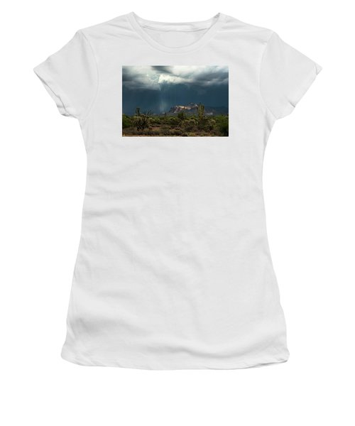 Women's T-Shirt (Athletic Fit) featuring the photograph A Rainy Evening In The Superstitions  by Saija Lehtonen