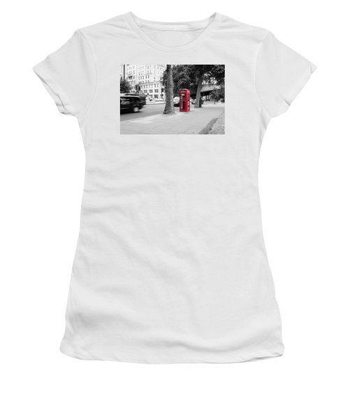 A Single Red Telephone Box On The Street Bw Women's T-Shirt