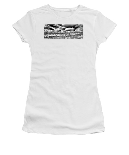 Women's T-Shirt (Junior Cut) featuring the photograph A Winter Panorama by David Patterson