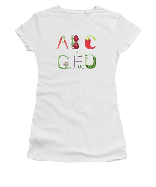 Women's T-Shirt (Athletic Fit) featuring the painting Abc Of Good Food by Irina Sztukowski