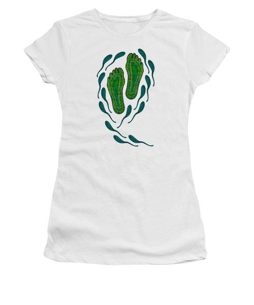 Aboriginal Footprints Green Transparent Background Women's T-Shirt