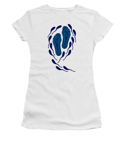 Aboriginal Footprints In Blue Transparent Background Women's T-Shirt (Junior Cut) by Barbara St Jean
