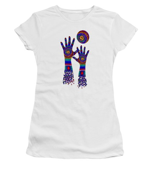 Women's T-Shirt featuring the digital art Aboriginal Hands Blue Transparent Background by Barbara St Jean