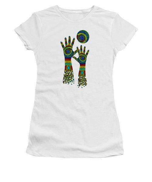 Women's T-Shirt featuring the digital art Aboriginal Hands Gold Transparent Background by Barbara St Jean