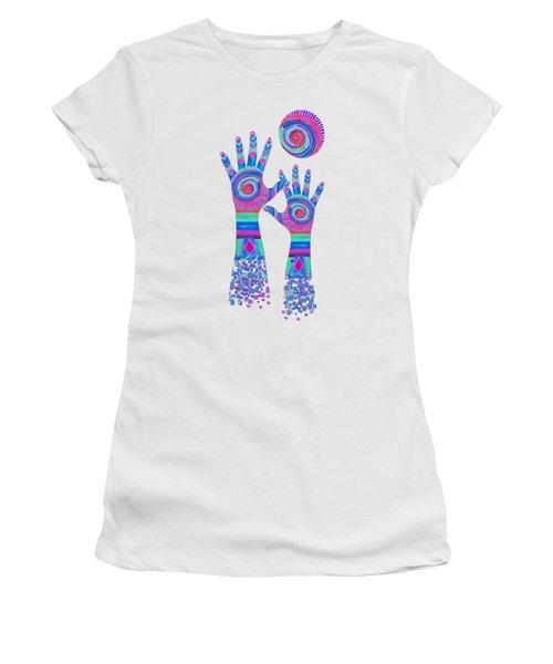 Women's T-Shirt featuring the digital art Aboriginal Hands Pastel Transparent Background by Barbara St Jean