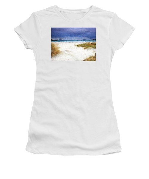 Women's T-Shirt (Junior Cut) featuring the digital art Abstract Beach Horizon by Anthony Fishburne