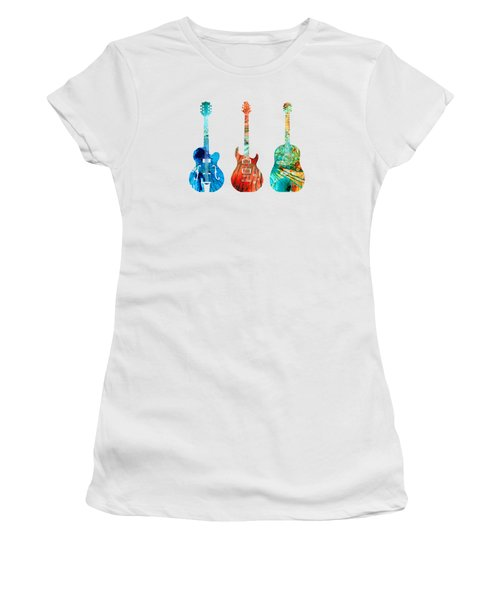 Abstract Guitars By Sharon Cummings Women's T-Shirt (Junior Cut) by Sharon Cummings