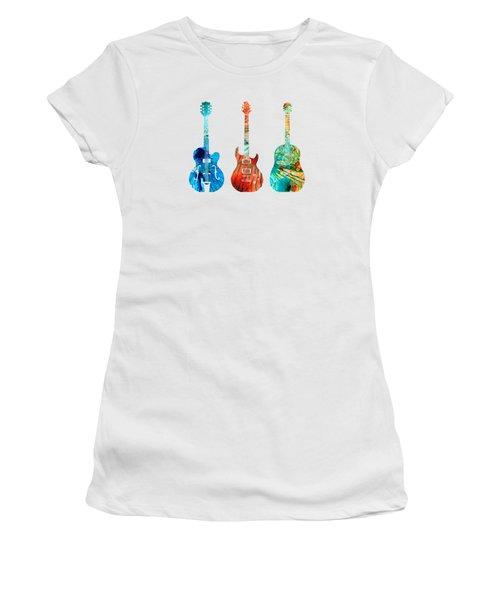 Abstract Guitars By Sharon Cummings Women's T-Shirt (Junior Cut)