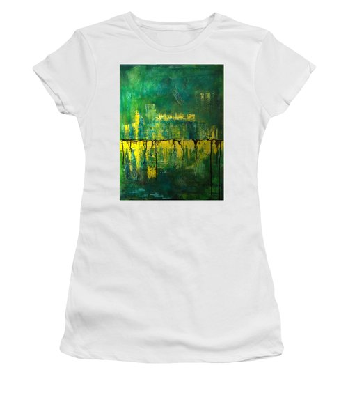 Women's T-Shirt featuring the painting Abstract In Yellow And Green by Jocelyn Friis