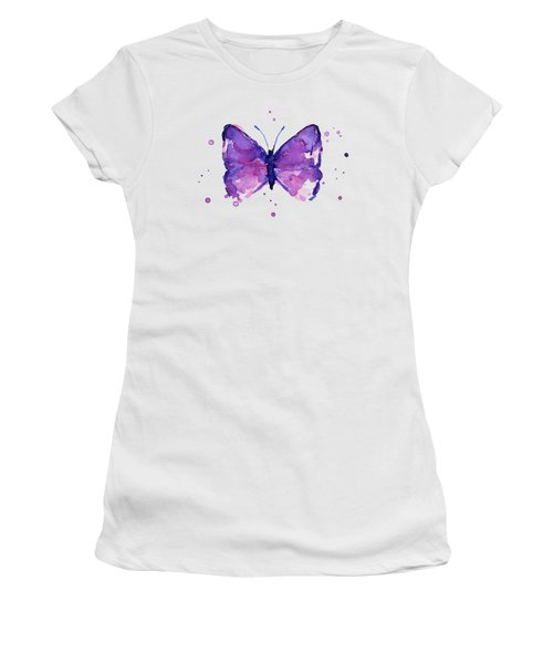 Abstract Purple Butterfly Watercolor Women's T-Shirt
