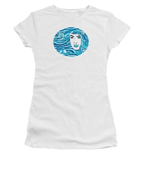 Abstract Water Element Women's T-Shirt (Junior Cut) by Serena King