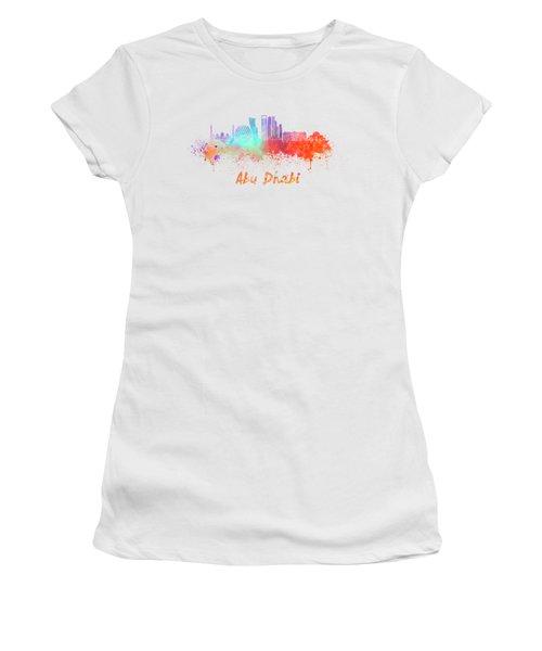 Abu Dhabi V2 Skyline In Watercolor Women's T-Shirt