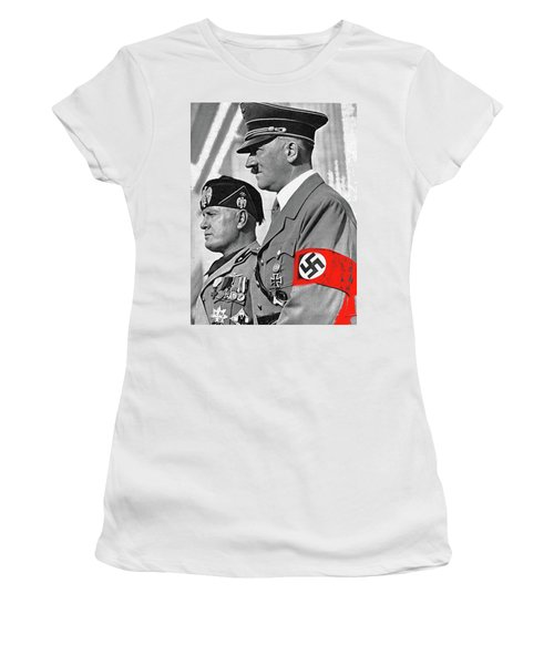 Adolf Hitler And Fellow Fascist Dictator Benito Mussolini October 26 1936 Number Three Color Added  Women's T-Shirt