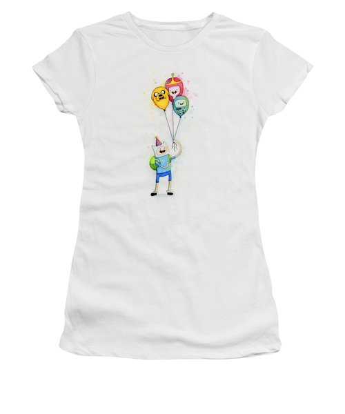 Adventure Time Finn With Birthday Balloons Jake Princess Bubblegum Bmo Women's T-Shirt (Athletic Fit)