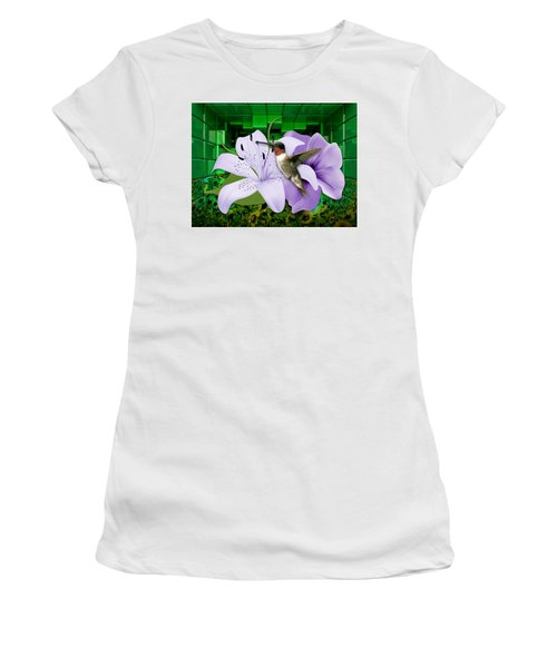 Women's T-Shirt (Athletic Fit) featuring the mixed media Aeronautics Humming Bird by Marvin Blaine