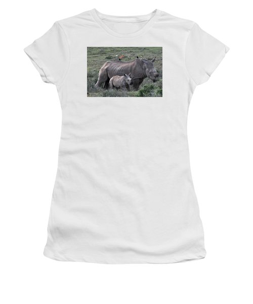 African White Rhino And Calf Women's T-Shirt (Athletic Fit)