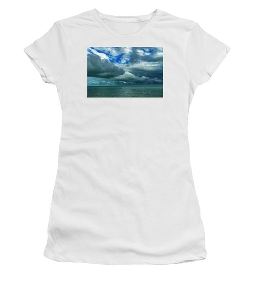 Women's T-Shirt (Athletic Fit) featuring the photograph Afternoon Clouds In Key West, Florida by Bob Slitzan