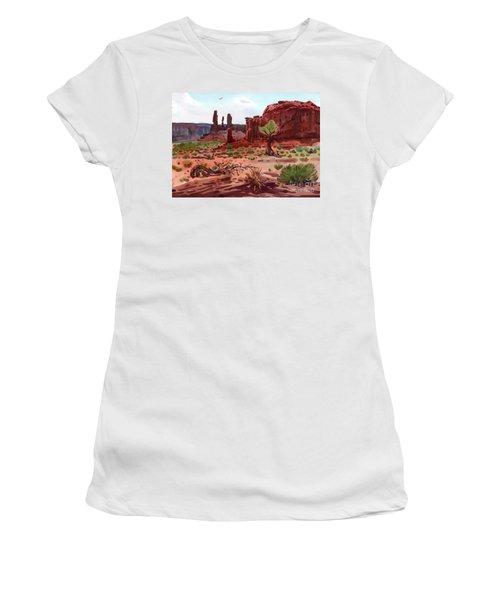 Afternoon In Monument Valley Women's T-Shirt (Junior Cut) by Donald Maier