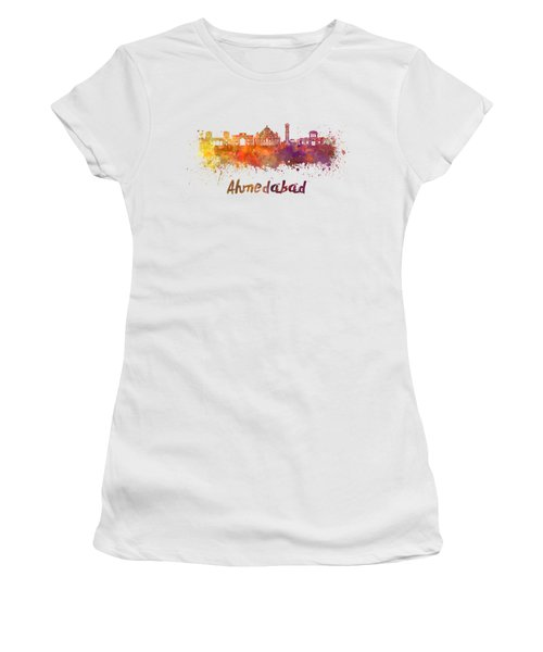 Ahmedabad Skyline In Watercolor Women's T-Shirt