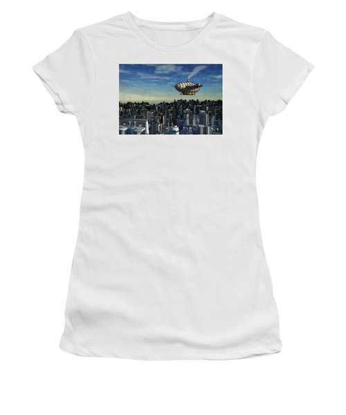 Airship Over Future City Women's T-Shirt (Athletic Fit)