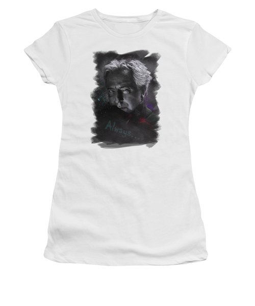 Women's T-Shirt featuring the drawing Alan Rickman by Julia Art
