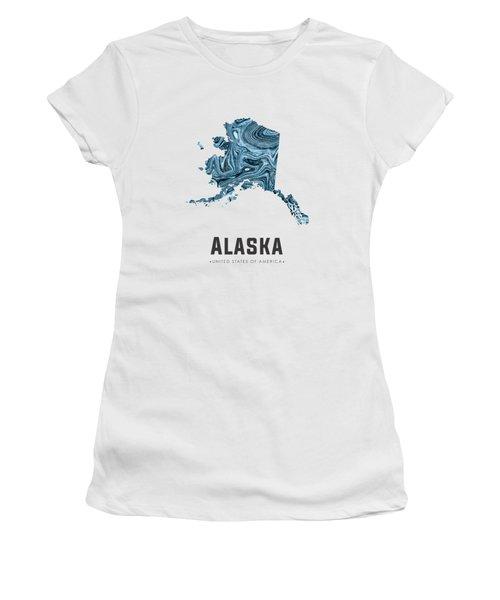 Alaska Map Art Abstract In Blue Women's T-Shirt
