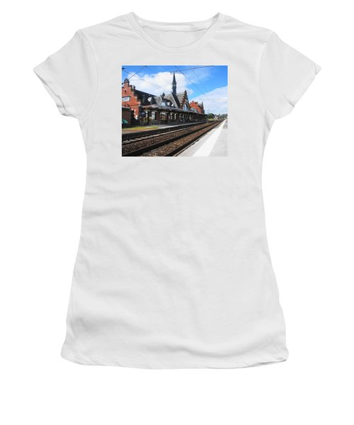 Women's T-Shirt (Junior Cut) featuring the photograph Albert Train Station, France by Therese Alcorn