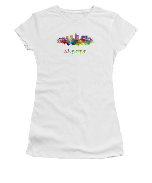Albuquerque Skyline In Watercolor Splatters With Clipping Path Women's T-Shirt