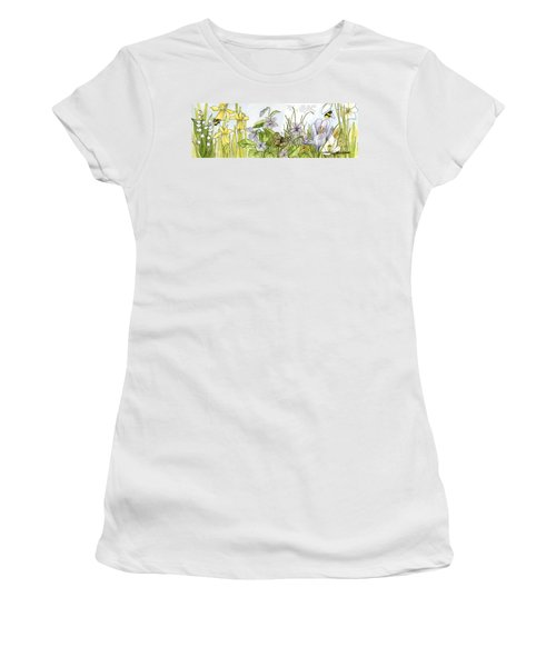 Women's T-Shirt (Athletic Fit) featuring the painting  Alive In A Spring Garden by Laurie Rohner