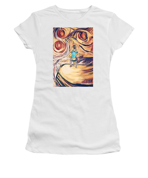 Women's T-Shirt featuring the mixed media All Around Me by Jessica Eli