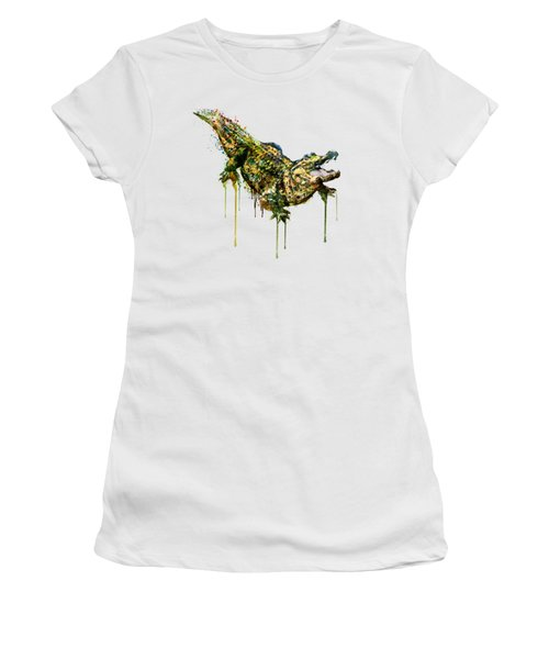 Alligator Watercolor Painting Women's T-Shirt (Athletic Fit)