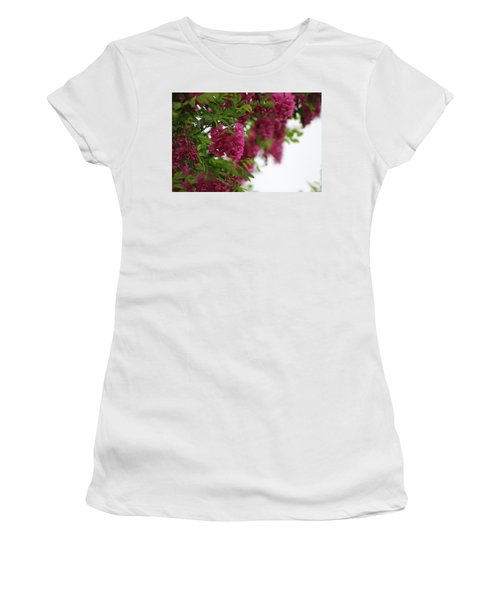 Amaranth Pink Flowering Locust Tree In Spring Rain Women's T-Shirt (Athletic Fit)
