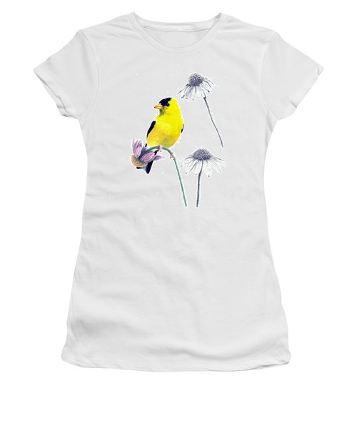 American Goldfinch On Coneflowers Women's T-Shirt (Athletic Fit)